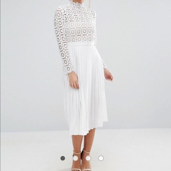 396b3841c1b NWT ASOS White Lace Pleated Midi Dress